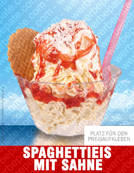 Spaghetti Eis mit Sahne -