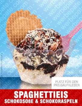 Spaghetti Eis mit Schokosoße & Schokoraspeln -